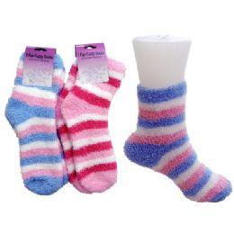 144 Bulk Striped Fuzzy Sock