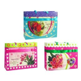 144 Bulk Gift Bag With Button Flower 3 Assorted