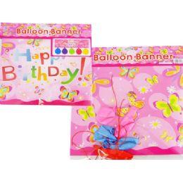 """144 Bulk Balloon Banner+5pc 10"""" Balloon 87cmx27cm"""