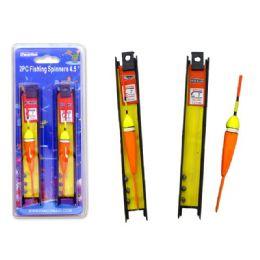 144 Bulk Fishing Spinners 2pc 4.5' 2ass Red,orange Clr