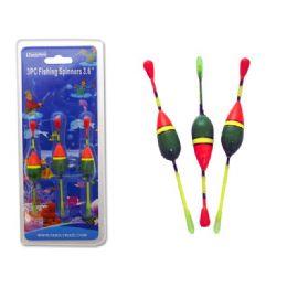 "144 Bulk Fishing Spinners 3pc 3.6"" Green+orange Clr"