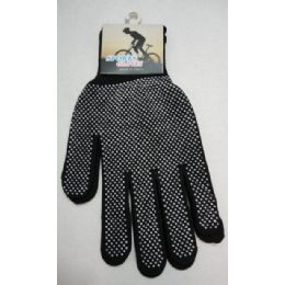 48 Bulk Sports Gloves With Gripper PalM--Black Only
