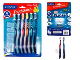 144 Bulk 6 Pack Toothbrushes With Travel Caps