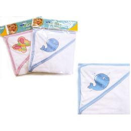 96 Bulk Baby & Kids' Hooded Towel In Pink And Blue