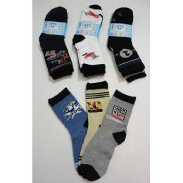 180 Bulk Boy's Printed Crew Socks 6-8