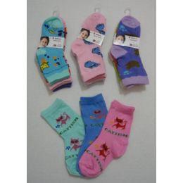 180 Bulk Girl's Printed Crew Socks 2-4