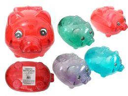 96 Bulk Piggy Bang Clear Assorted Color