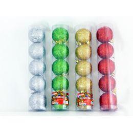 96 Bulk Xms Ball 5pc/set 6cm 4asst cl