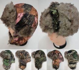 12 Bulk Bomber Hat With Fur LininG--Camo