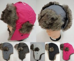24 Bulk Aviator Hat With Fur TriM--Solid Color