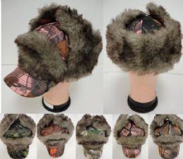 12 Bulk Aviator/baseball Hat With Fur [hardwoods Camo]