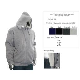 12 Bulk Mens Hooded Top Sherpa Lining 90% Poly 10% Cotton