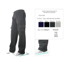 12 Bulk Mens Cargo Sweat Pants 90% Poly 10% Cotton Assorted