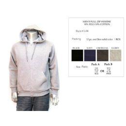 12 Bulk Mens Full Zip Hoodie Assorted Colors