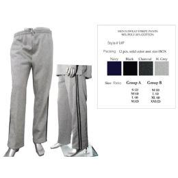 12 Bulk Mens Sweat Stripe Pants 90% Poly 10% Cotton