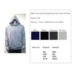12 Bulk Mens Pullover Hoodie 90% Poly 10% Cotton Assorted Colors