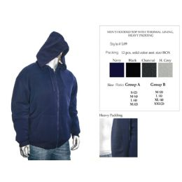 12 Bulk Mens Hooded Top With Thermal Lining Heavy Padding