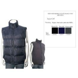 24 Bulk Mens Reversible Nylon Fleece Vest 100% Poly