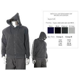 12 Bulk Mens Full Zip Hood Stripe Top 90% Poly 10% Cotton
