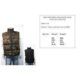 12 Bulk Mens Reversible Camouflage Nylon Fleece Vest 100% Poly