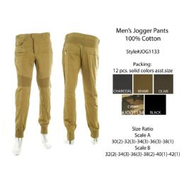 12 Bulk Mens Jogger Pants 100% Cotton