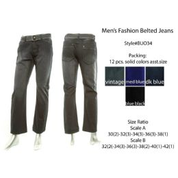 12 Bulk Mens Fashion Belted Jeans