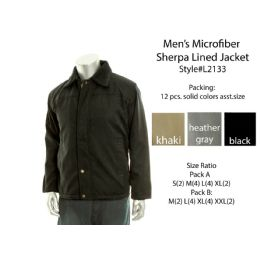 12 Bulk Mens Microfiber Sherpa Lined Winter Jacket