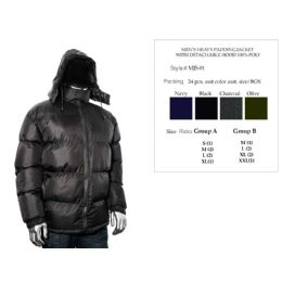 24 Bulk Mens Heavy Padding Jacket With Detachable Hood 100% Poly