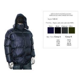 24 Bulk Mens Heavy Padding Jacket With Detachable Hood 100% Poly