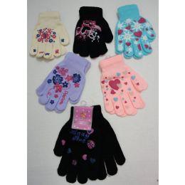 48 Bulk Girls Printed Winter Gloves