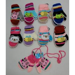 36 Bulk Small Mittens With Puffy Character [connected]