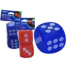 """96 Bulk Dice Eva 2pc 2.5x2.5""""red, Blue Clr"""