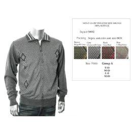 24 Bulk Mens Fashion 1/4 Zip Sweater Side Argyle