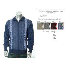 24 Bulk Mens Full Zip Sweater Side Panel Design 100% Acrylic