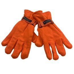 24 Bulk Men's Orange Fleece Gloves