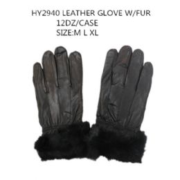 48 Bulk Leather Winter Gloves With Fur