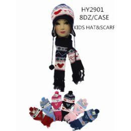 96 Bulk Kids Hat With Scarf
