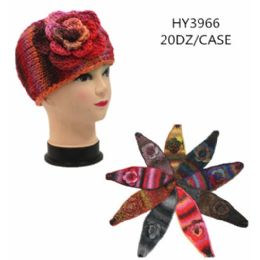 60 Bulk Ladies Multicolored Winter Head Band With Flower