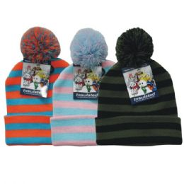 36 Bulk Winter Kid's Pom Pom Hat Stripe