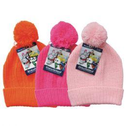 24 Bulk Winter Kid's Pom Pom Hat Knit