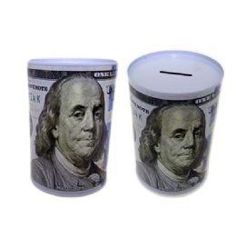 """48 Bulk Coin Bank, Saving Tin, Us $100 Bill, 3.9""""dia X 5.9""""h"""