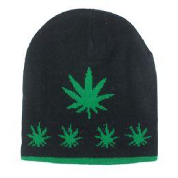 36 Bulk Winter Beanie Hats Marijuana Print