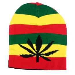 36 Bulk Winter Beanie Hat In Rasta