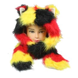 12 Bulk Soft Faux Fur Multicolor Animal Hat With Builtin Paws Mittens