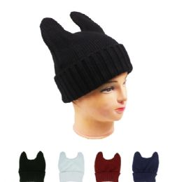 72 Bulk Solid Color Winter Hats Assorted With Cat Ears