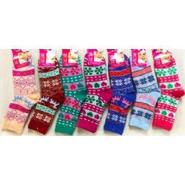48 Bulk Double Layered Knitted Women Girls' Winter Socks