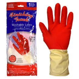 72 Bulk Latex Glove Hd 2 Tone Large