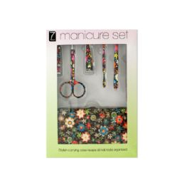 12 Bulk Manicure Set With Stylish Floral Carrying Case