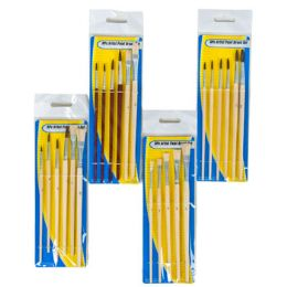 96 Bulk Artist Paint Brush Set 4asst 5-6pc Wood Handle