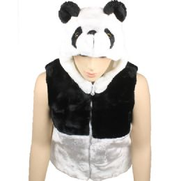 12 Bulk Kids Cute Panda Vest With Panda Hat